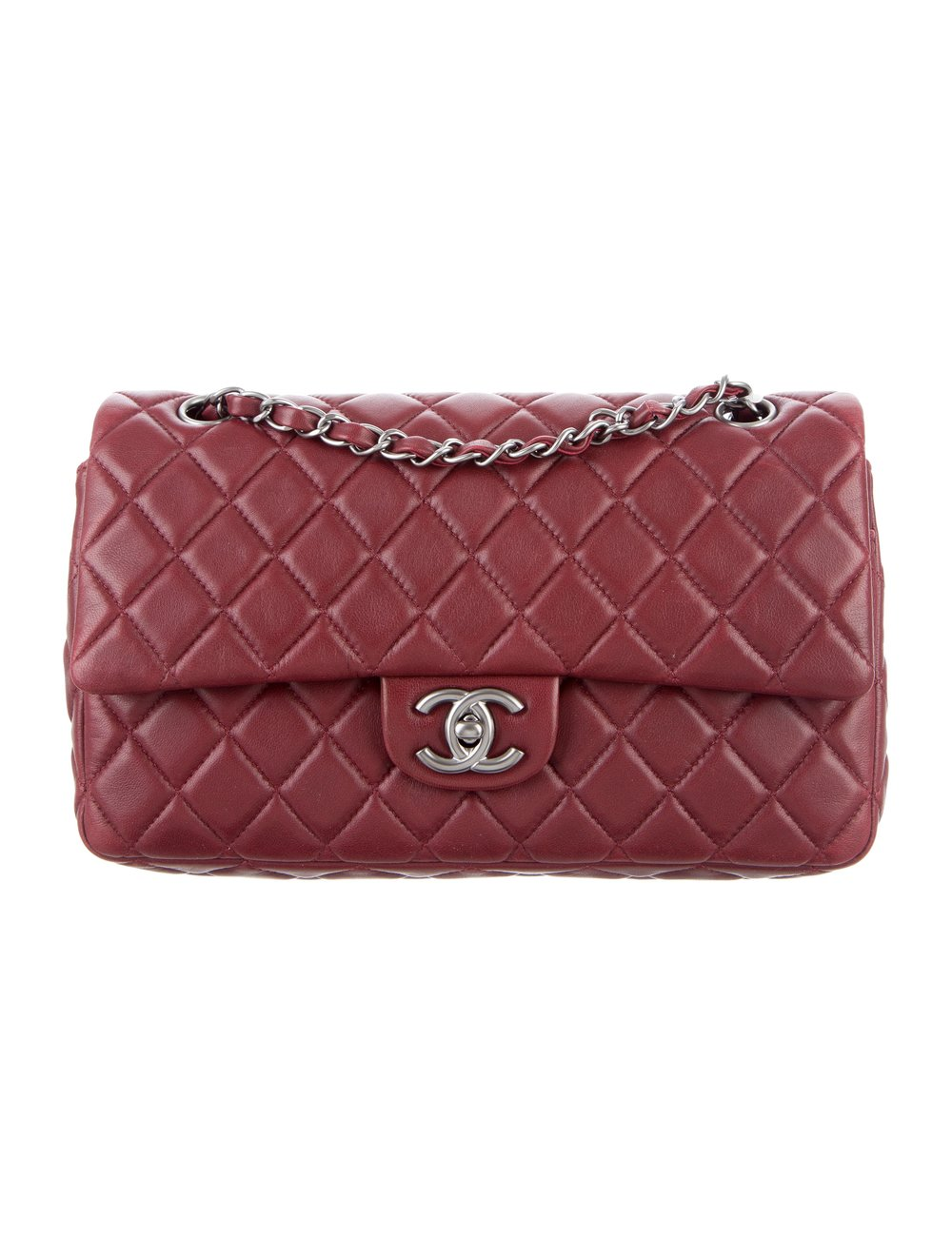 CHANEL SOFT QUILTED LAMBSKIN CLASSIC MEDIUM BURGUNDY DOUBLE FLAP BAG ($2,600.00)