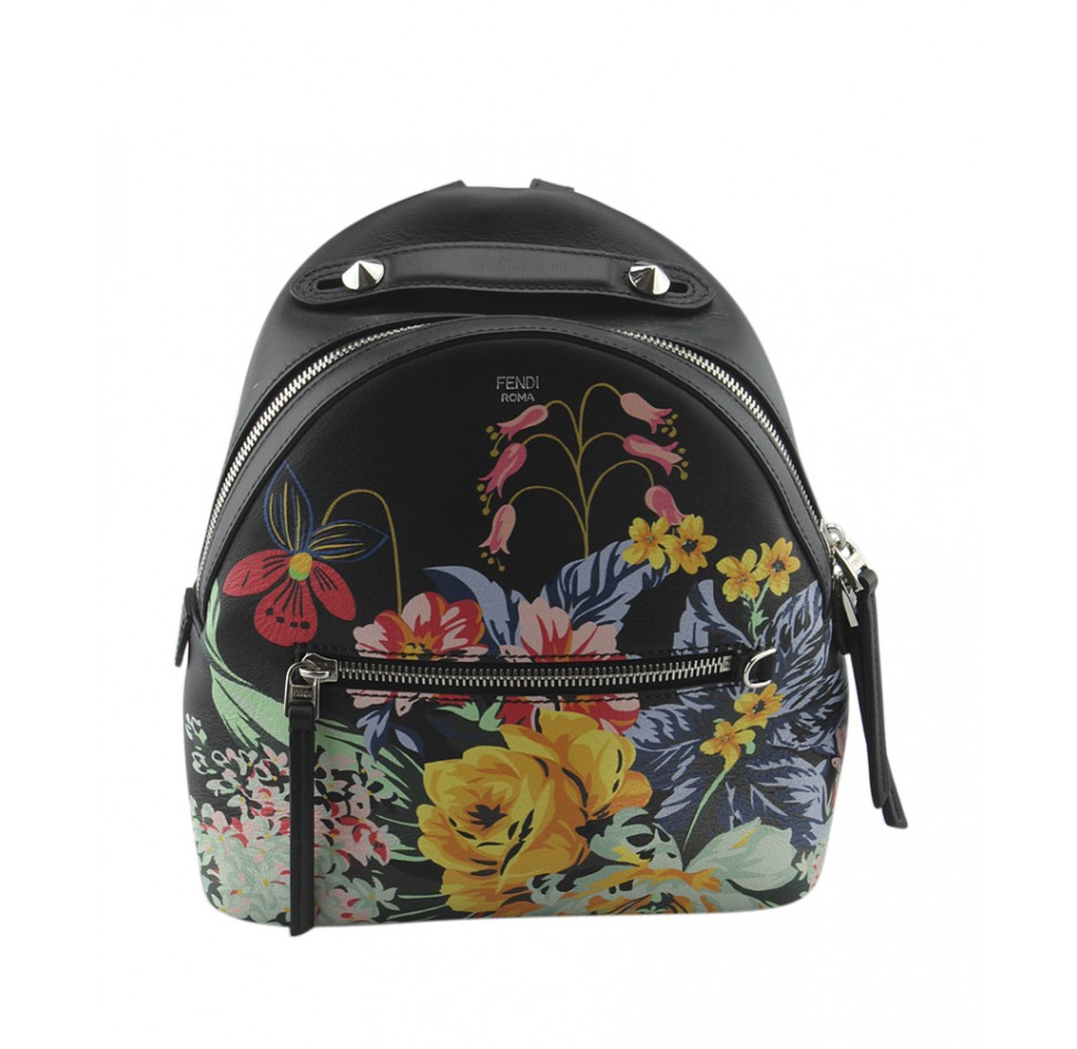 FENDI    Resort 2017 Black Leather Floral Mini Backpack, $2,340, portero.com