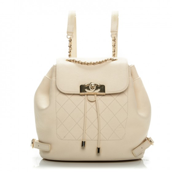 CHANEL    Caviar Quilted Backpack White, $3,895, fashionphile.com