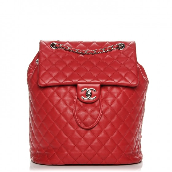 CHANEL     Lambskin Quilted Large Urban Spirit Backpack Red, $3,145, fashionphile.com