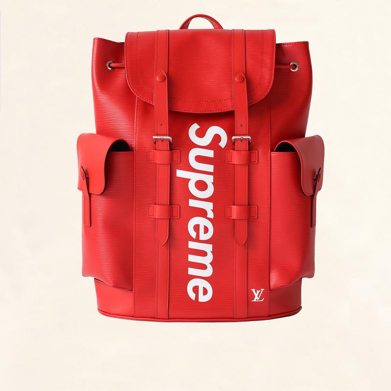 LOUIS VUITTON     Supreme Epi Christopher Red Backpack, $11,000, the-collectory.com