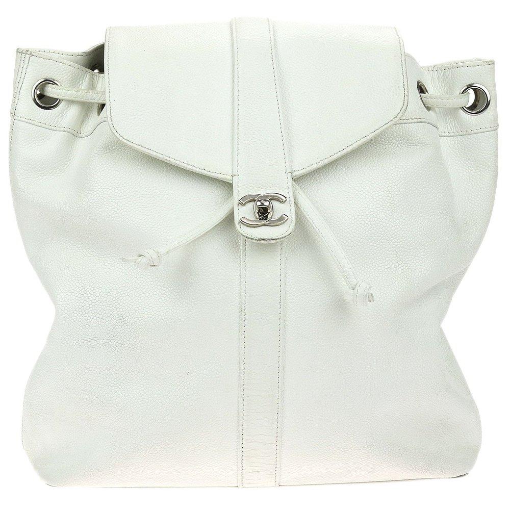 CHANEL    Vintage White Caviar Drawstring Backpack, $ 1,495, designer-vault.com