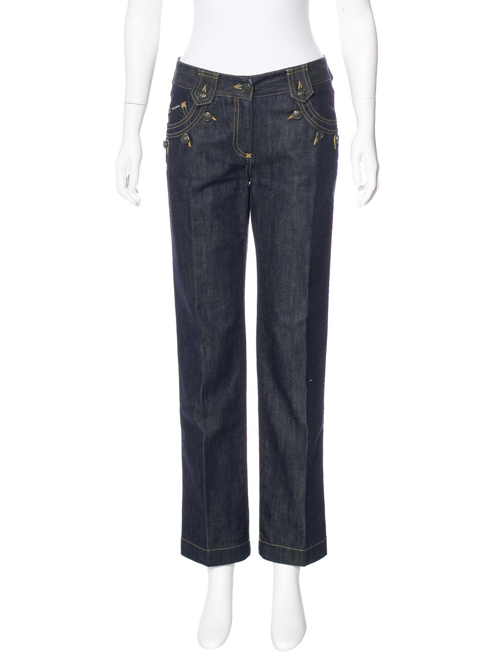 DOLCE & GABBANA Mid Rise Straight-Leg Jeans; Size: US 4; $95.00