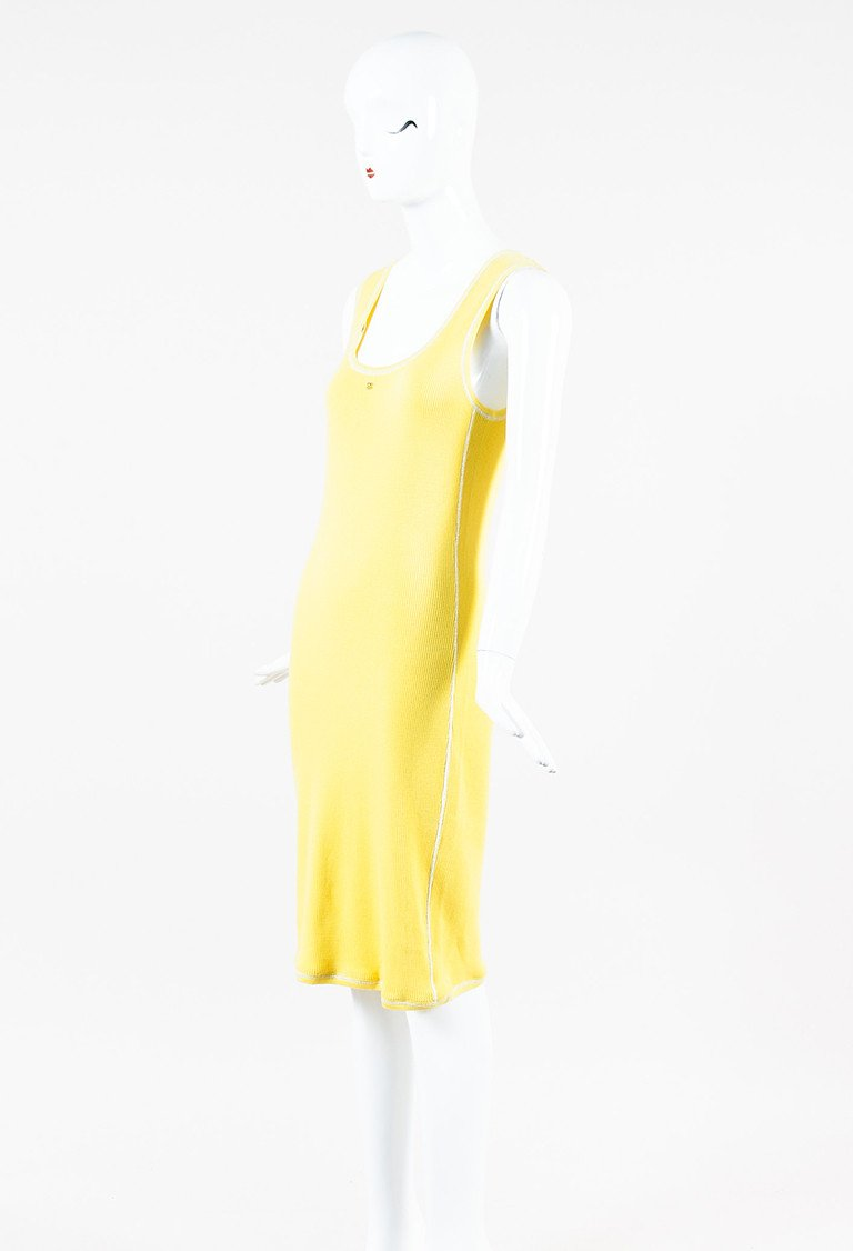 CHANEL YELLOW COTTON CASHMERE RIBBED KNIT 'CC' SLEEVELESS MIDI DRESS; Size: 40 FR; $590.00