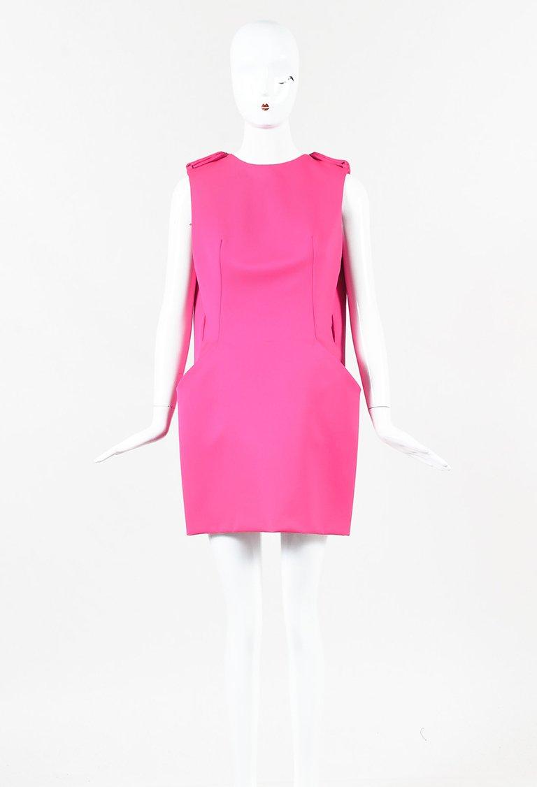 ALEXANDER MCQUEEN HOT PINK WOOL CAPE BACK MINI DRESS; Size: 42 IT; $495.00