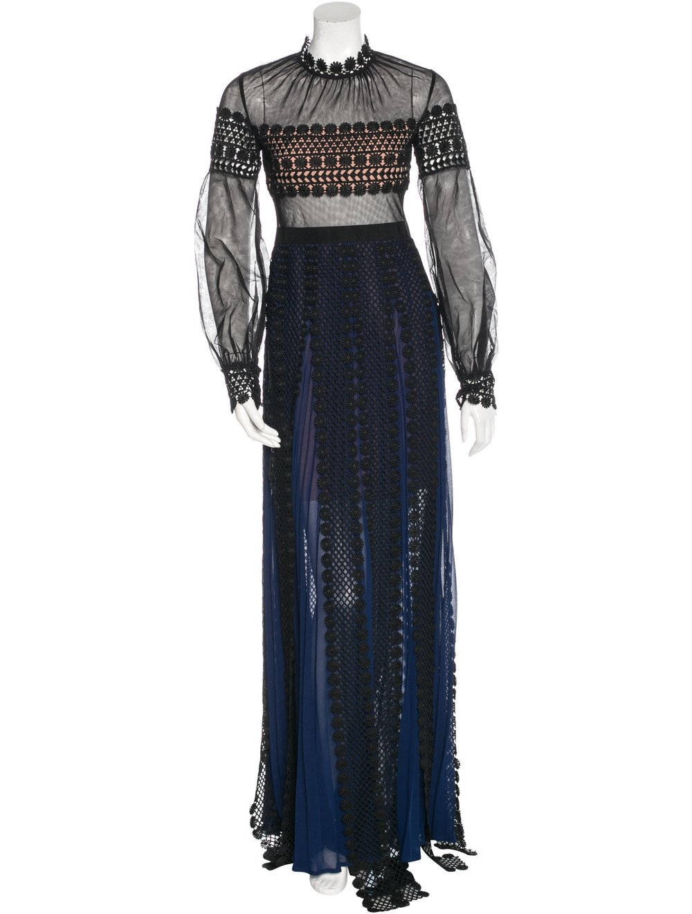 SELF-PORTRAIT PLEATED LACE-ACCENTED DRESS; Size: S, US4, UK8; $595.00