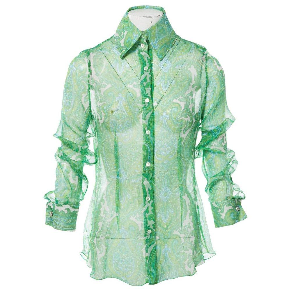 DOLCE & GABBANA Green Floral Silk Blouse; Size: 44 IT;$163.32