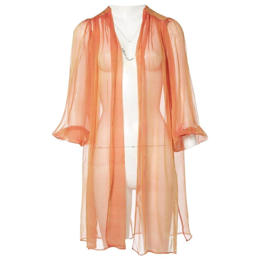 YVES SAINT LAURENT Orange Silk Top; Size: M; $154.41