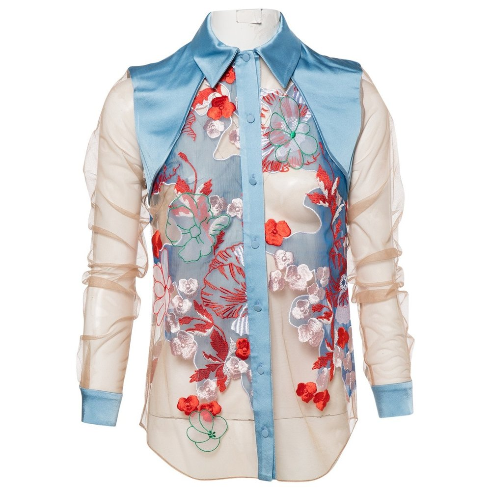 JONATHAN SAUNDERS Blue Floral Shirt; Size: 34; $179.26