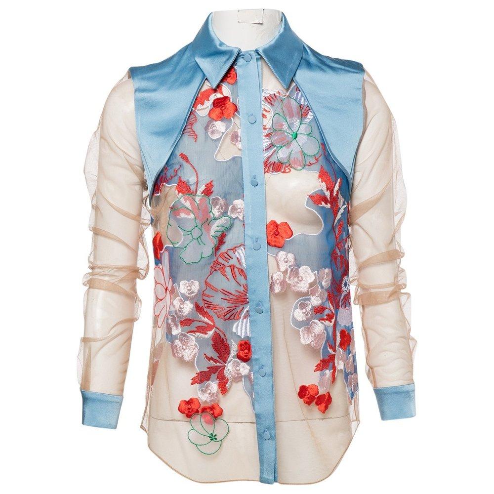 JONATHAN SAUNDERS Blue Floral Shirt; Size: 34; $179.26
