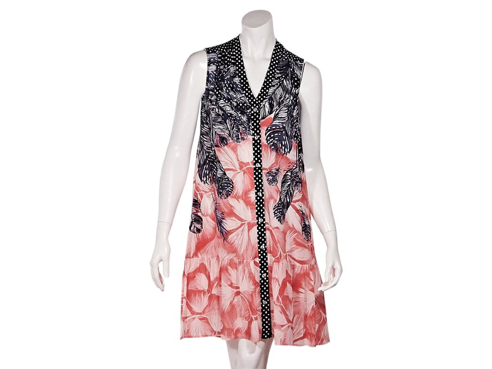SALONI Navy Blue & Pink Feather-Printed Dress; Size: 6 US; $305