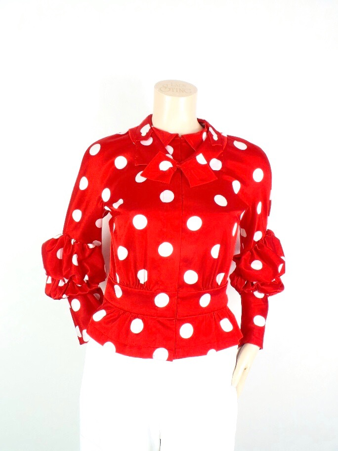 COMME DES GARCONS Polka Dot Print Blouse; Size: S; $253.42