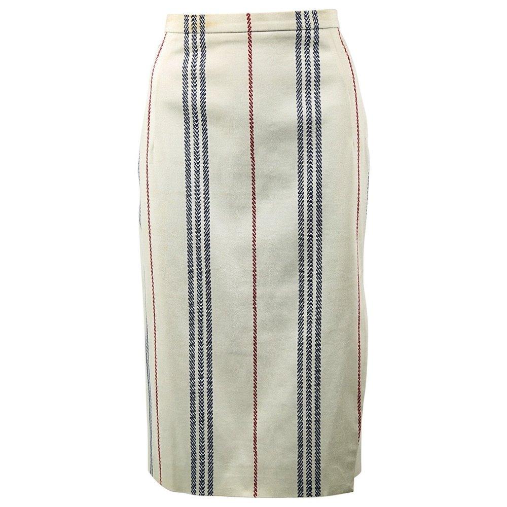 ALTUZARRA White Striped Midi Skirt; Size: 40 IT; $195
