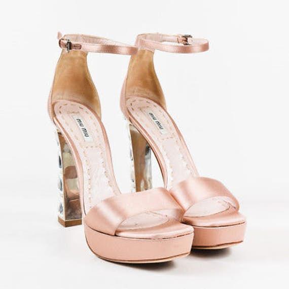 MIU MIU Pink Satin Embellished High Heel Open Toe Platform Sandals; Size 37.5 IT; $215.00