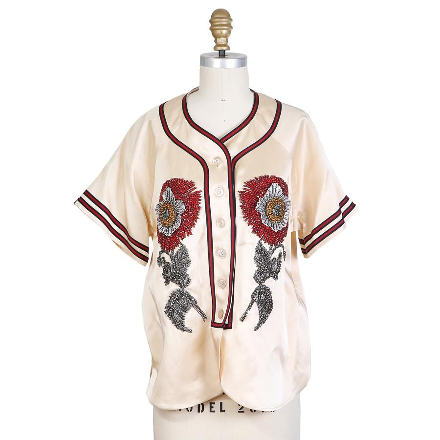 GUCCI Embroidered Duchesse Satin Baseball Shirt, S/S 2017; Size: 40 IT; $4,200.00