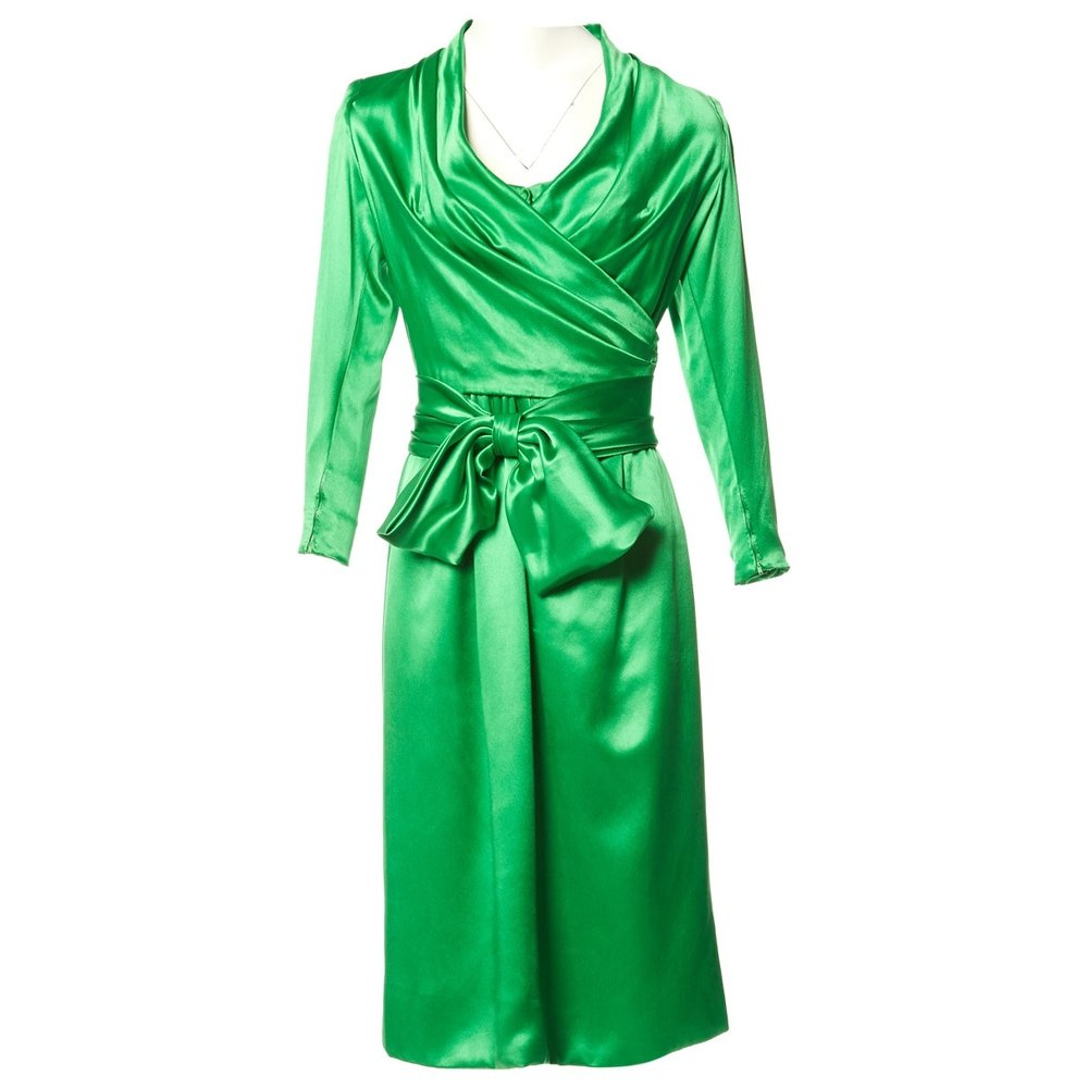 GIVENCHY Green Silk Midi Dress; Size: S; $581.23
