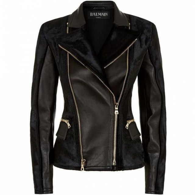BALMAIN Leather Biker Jacket $1,179.82