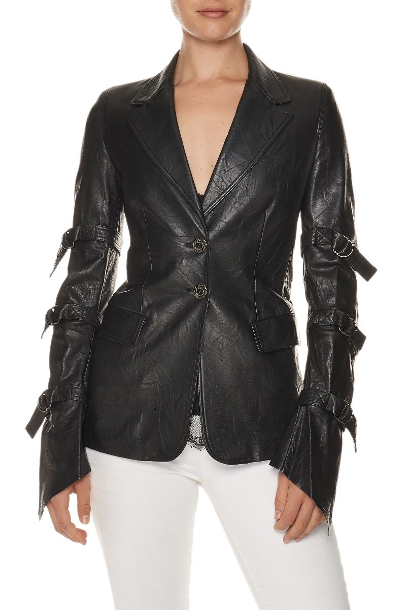 VERSACE Leather Bondage Sleeve Blazer $1,950.00