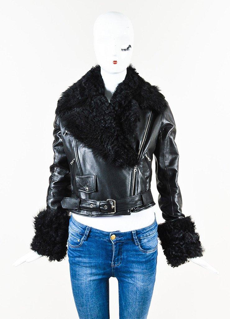 CHRISTOPHER KANE Black Leather Shearling Trim Moto Jacket $1,195.00
