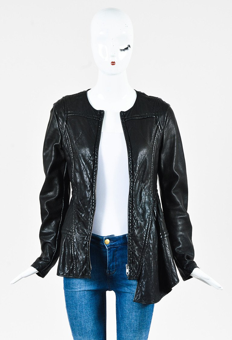 MARNI Black Quilted Leather Asymmetrical Paneled Jacket $190.00