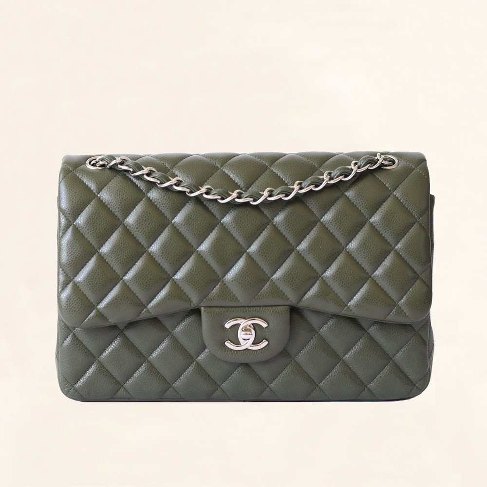 - Chanel Jumbo Olive Green Calfskin Classic Double Flap$4,800.00