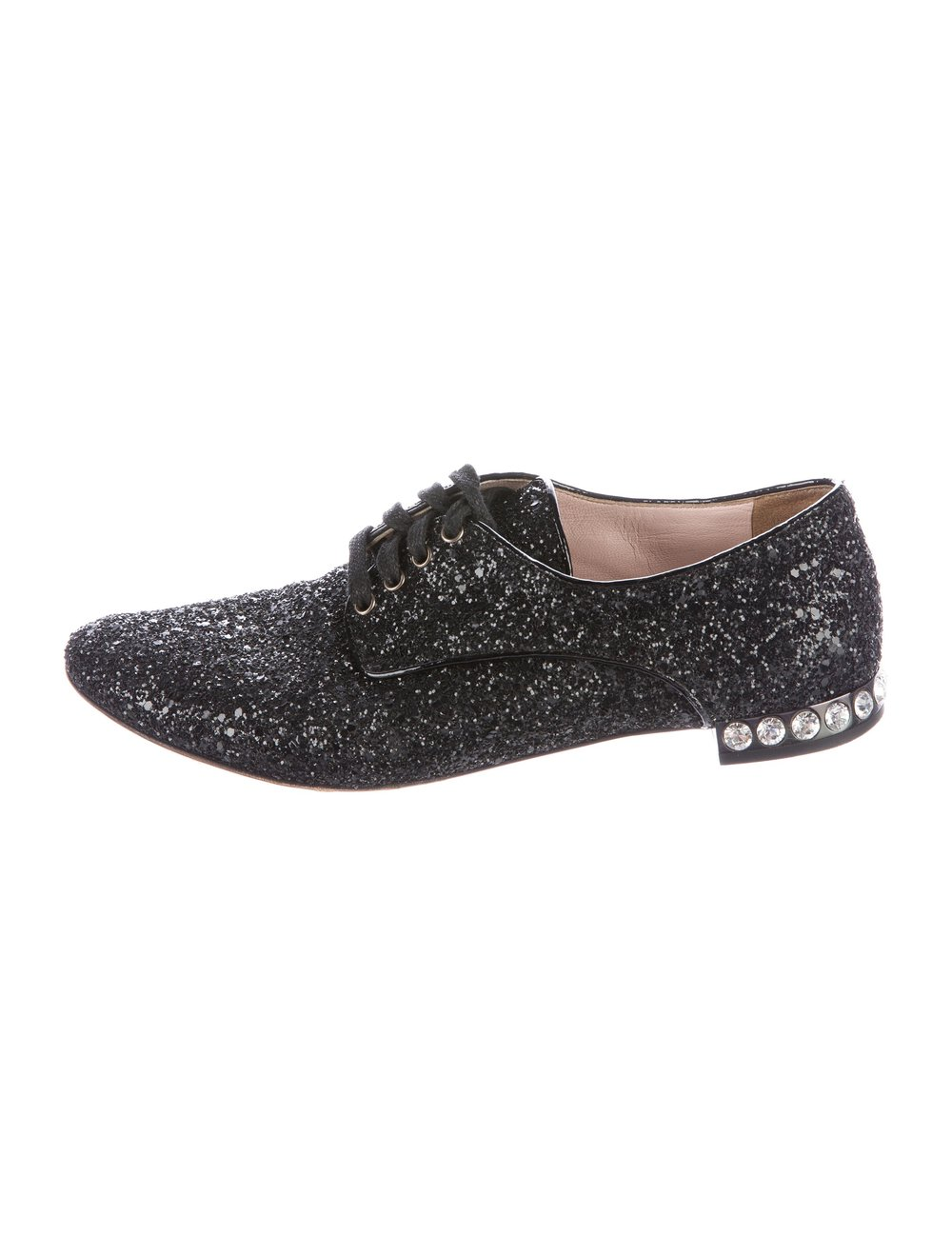 MIU MIU - EMBELLISHED GLITTER OXFORDS($245.00)