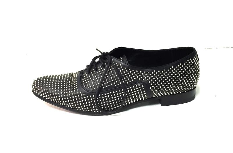 SAINT LAURENT - BLACK LACE-UP STUDDED OXFORDS ($224.99