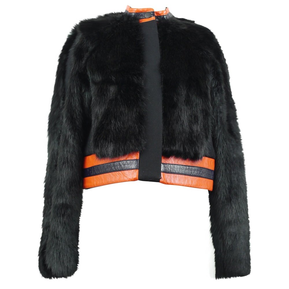 TANYA TAYLOR - BLACK FAUX FUR AND ORANGE LEATHER PIPING($495.00)