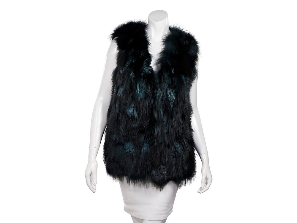 Blue Duck  Teal & Black Fox Fur Vest; $385.00