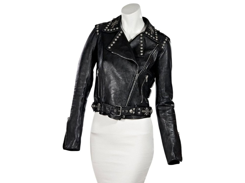Fausto Puglisli  Black Studded Leather Jacket $1,295.00