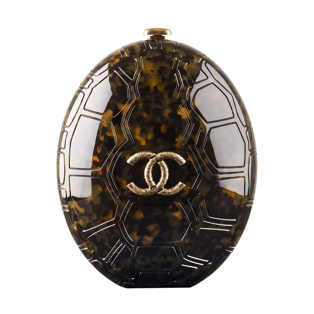 Chanel Turtle Shell Plexiglass Minaudiere - SOLD AT MADISON AVENUE COUTURE