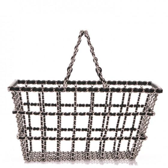 CHANEL Brass Calfskin Grocery By Chanel Shopping Basket Silver - $4,625