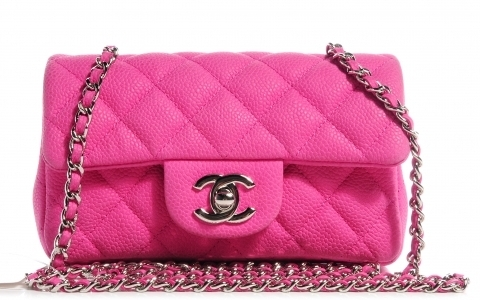 CHANEL Iridescent Caviar Quilted Extra Mini Flap Pink