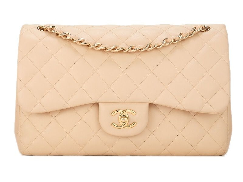 CHANEL BEIGE QUILTED LAMBSKIN CLASSIC DOUBLE FLAP JUMBO