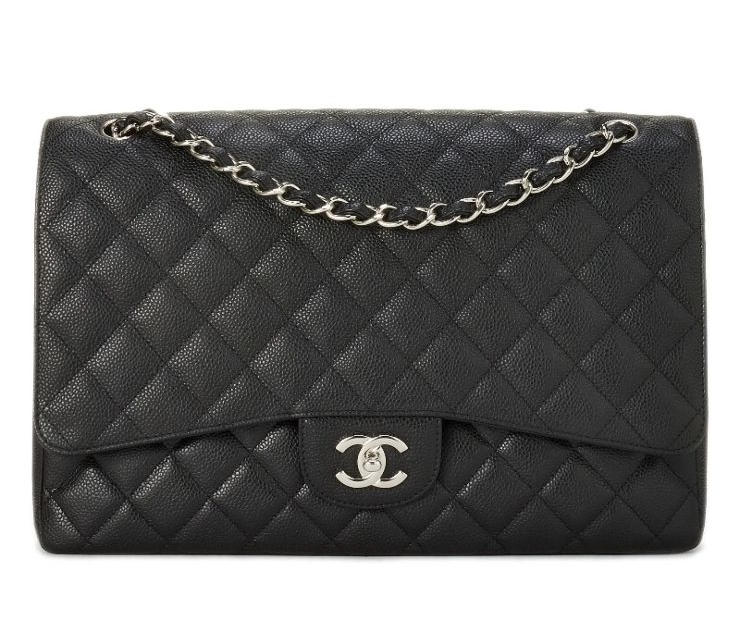 CHANEL BLACK QUILTED CAVIAR CLASSIC FLAP MAXI