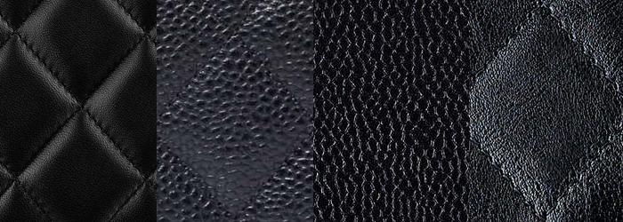 Photo: Vauntr ( From   Left   To Right: Lambskin, Caviar, Grained Calfskin, Crumpled Calfskin)