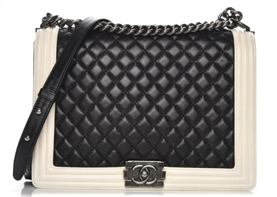 Image via Fashionphile - Chanel Boy Bag – Large11.8″ W x 8.3″ H x 3.9″ DLeather Prices Start at $5,500 for Quilted Calfskin