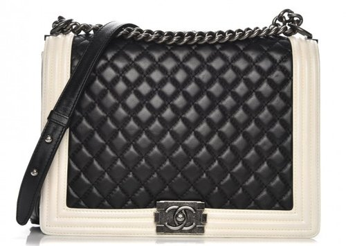 68c1a2123881 chanel-lambskin-quilted-large-boy-flap-black-white-