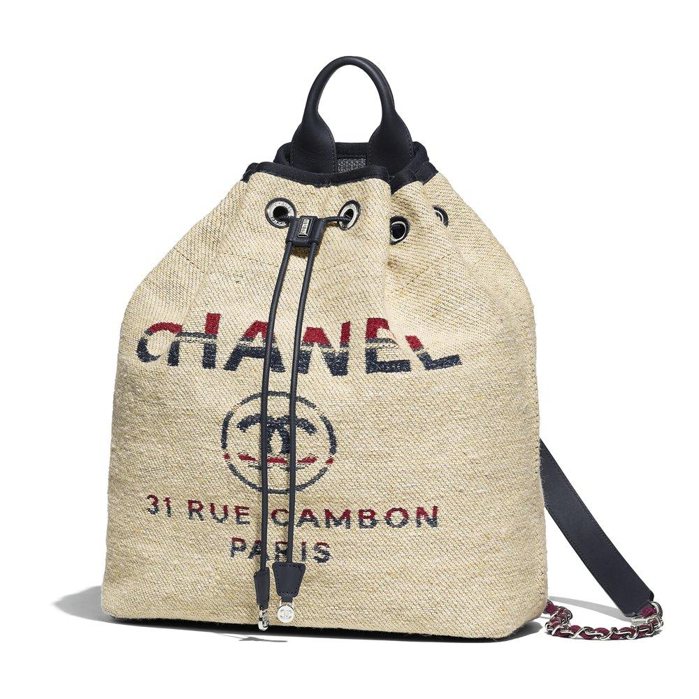 Chanel Canvas Calfskin Deauville Backpack