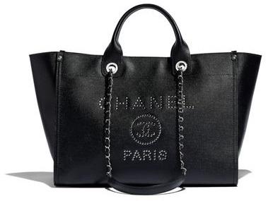 60c388de4 Chanel Medium Deauville Studded Logo Shopping Bag