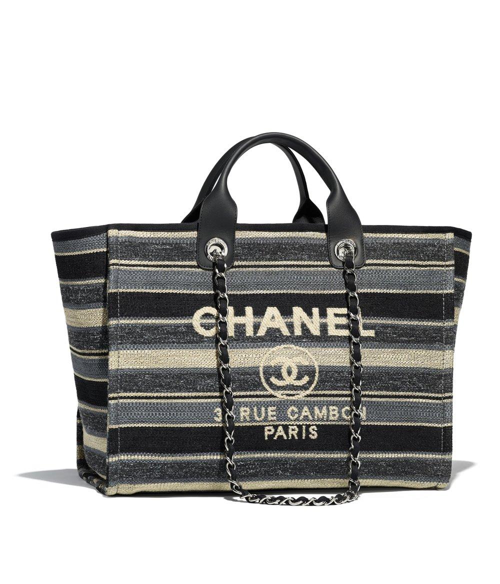 Chanel Deauville Canvas Calfskin Shopping Bag