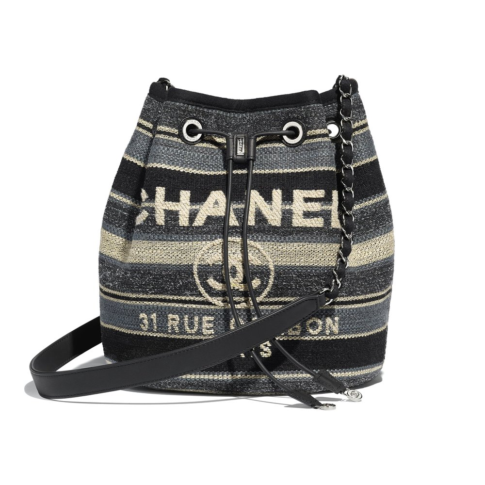 Chanel Deauville Canvas Calfskin Drawstring Bag