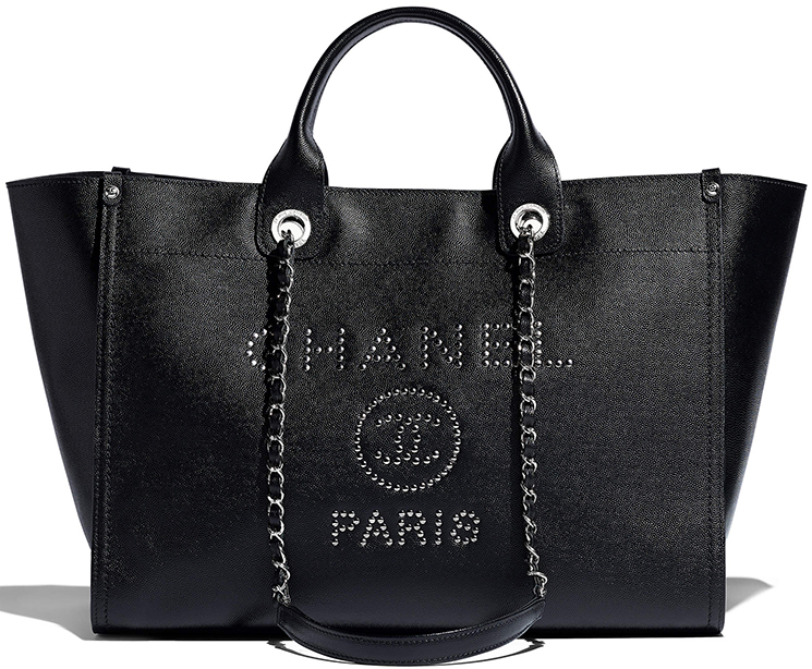 Chanel Large Deauville Studded Logo Shopping Bag