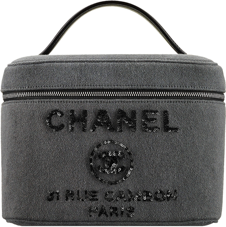Chanel Deauville Vanity Pouches in Canvas and Sequins Lettering