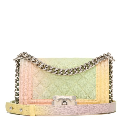 6c2be18fb4a0 Chanel Ivory Rainbow Printed Caviar Small Boy Bag — The Posh Net