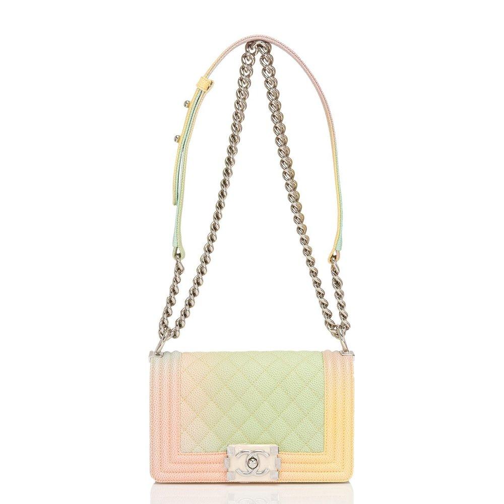 c16e97c288cb1d Chanel Ivory Rainbow Printed Caviar Small Boy Bag — The Posh Net