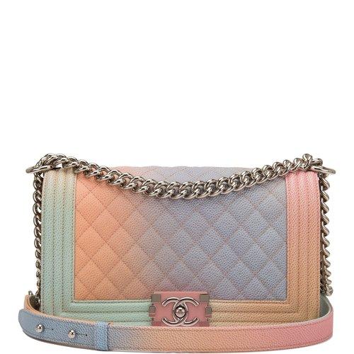 e75e850223eace Chanel Pink Rainbow Printed Caviar Medium Boy Bag — The Posh Net