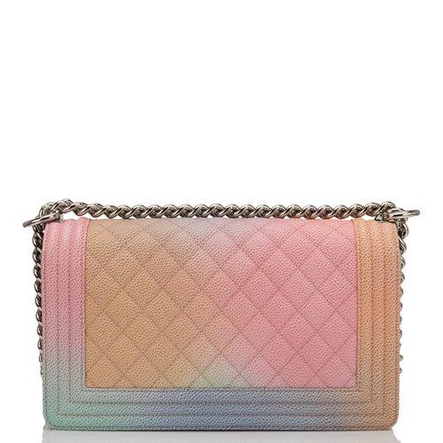 Chanel Pink Rainbow Printed Caviar Medium Boy Bag — The Posh Net 8192886c4d11d