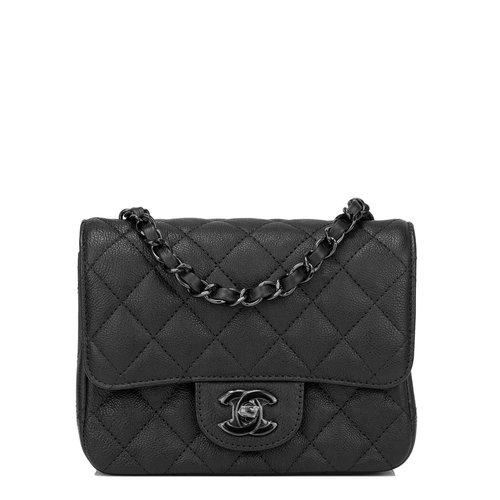 cfffde86e344 Chanel SO Black Crumpled Calfskin Square Mini Classic Flap Bag — The ...