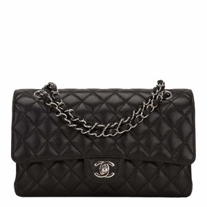 dd0590288f71 Chanel Black Quilted Caviar Medium Classic Double Flap Bag